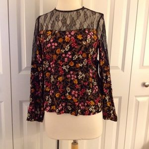 Zara lace insert blouse new w tags